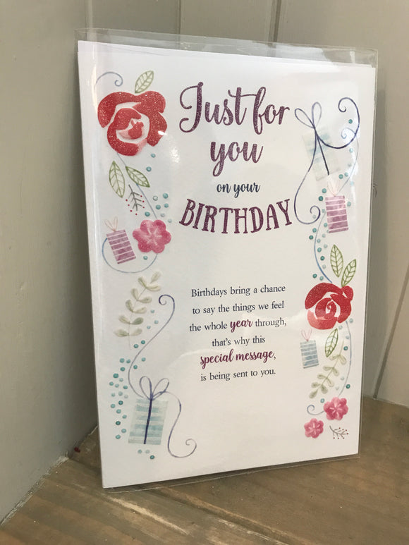 Just for you on your birthday trifold Card