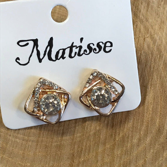 Square Rose Gold Matisse Earrings