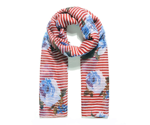 Red Stripe Meadow Floral Print Scarf