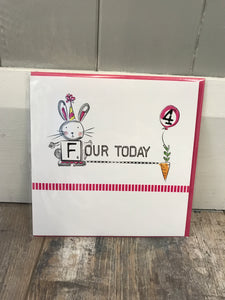 Four Today Birthday Card (Pink)