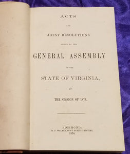 ACTS OF VIRGINIA - 1874 1/4 Leather 1st Ed.