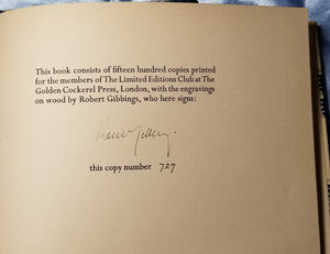 Mallory, Sir Thomas, LE MORTE D'ARTHUR. , Limited Editions Club, 1936. #727 of 1500 Signed by Gibbings