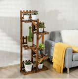 5-Tier Flower Rack Wood Plant Stand 6 Pots Display Shelf