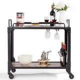 2 Tier Wood Kitchen Island Rolling Bar Serving Cart