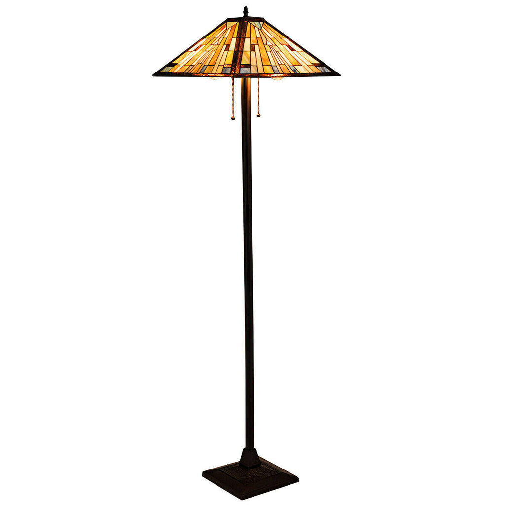 "Tiffany-Style 2 Light Floor Lamp with 18"" Stained Glass Shade"