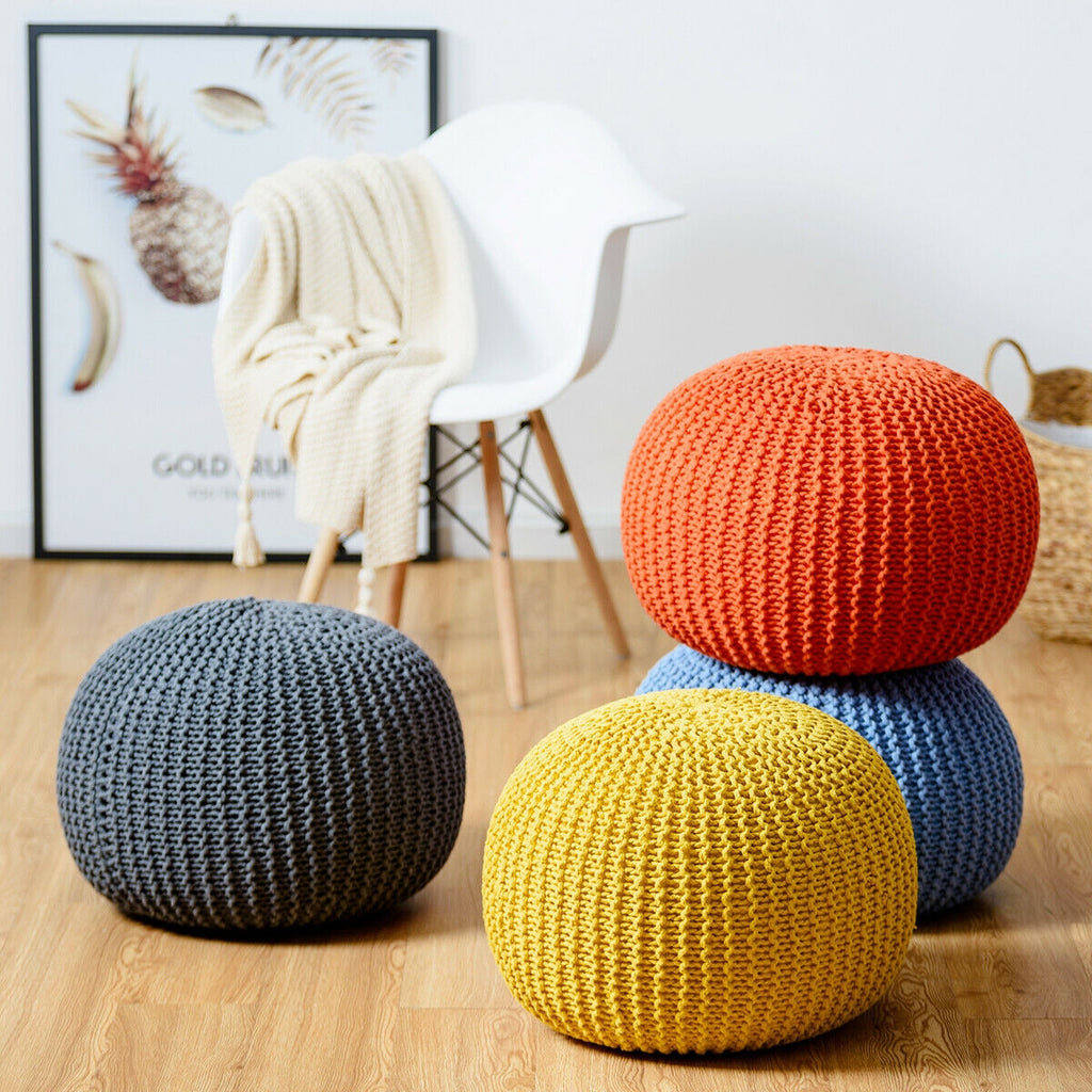 100% Cotton Hand Knitted Pouf Floor Seating Ottoman