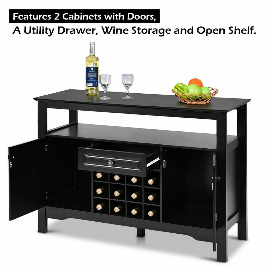 Elegant Classical Multifunctional Wooden Wine Cabinet Table