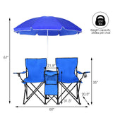 Portable Folding Picnic Double Chair with Umbrella
