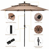 10' 3 Tier Patio Umbrella Aluminum Sunshade Shelter Double Vented