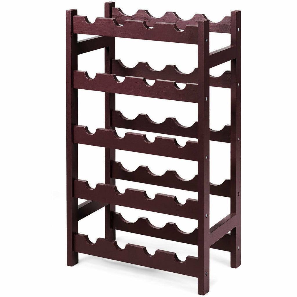 Wood Wine Rack 5-Tier Bottle Display Storage Shelf Free Standing