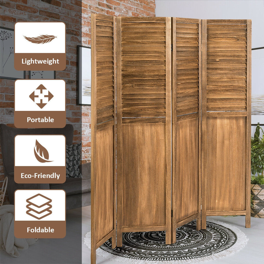 4 Panel Freestanding Folding Privacy Modern Wood Design Room Divider