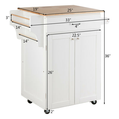 Rolling Kitchen Island Cart Storage Cabinet with Spice Rack