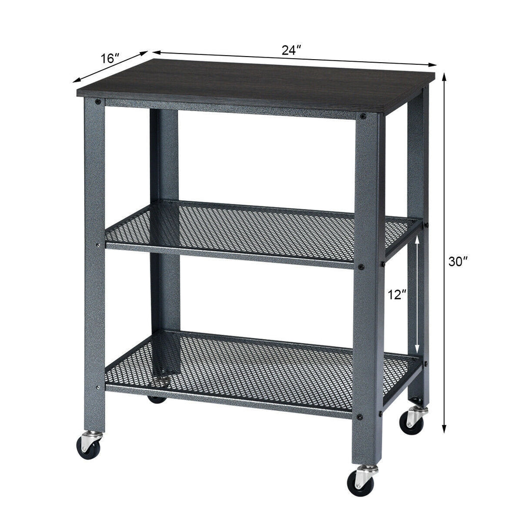 3-Tier Kitchen Utility Industrial Cart with Storage