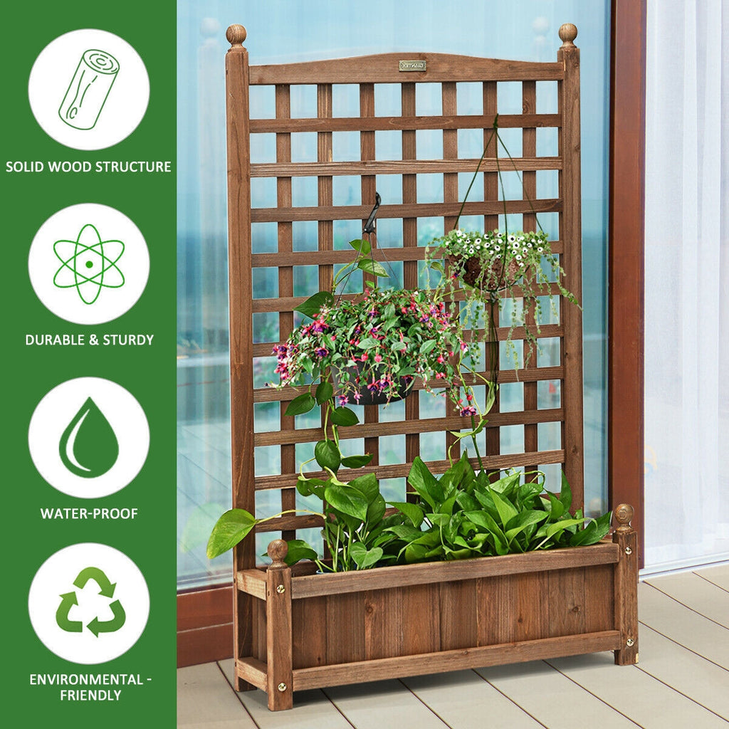 Solid Wood Planter Box with Trellis Weather-resistant Outdoor