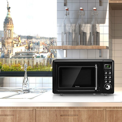 700W Glass Turntable Retro Countertop Microwave Oven