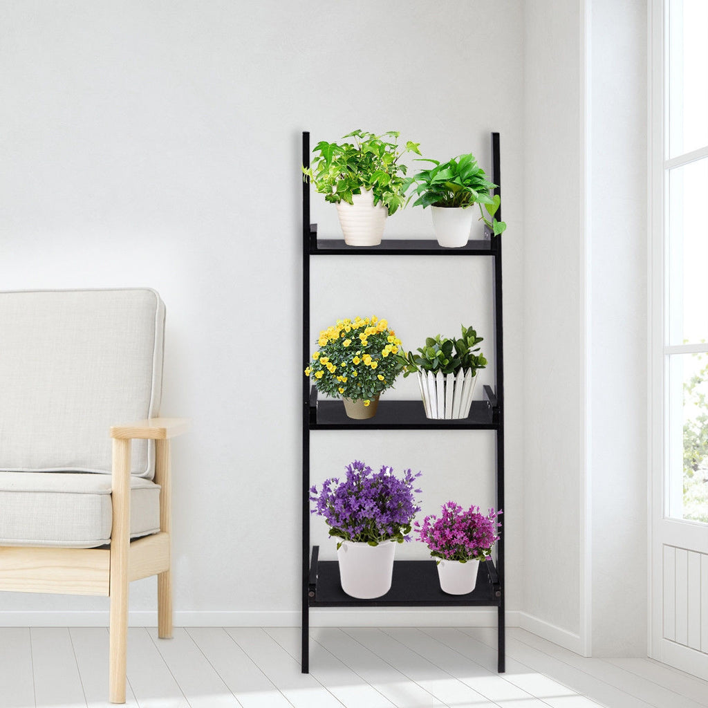3 Tier Leaning Rack Wall Book Shelf Ladder