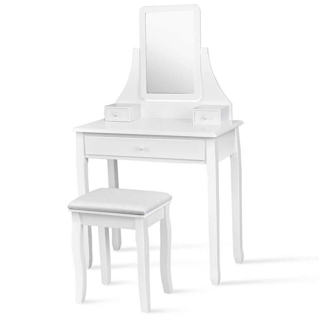 Square Mirrored Vanity Dressing Table Set with 3 Storage Boxes