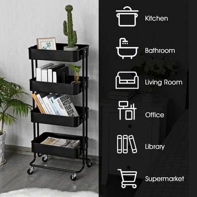 4-Tier Metal Rolling Storage Cart Mobile Organizer with Adjustable Shelves