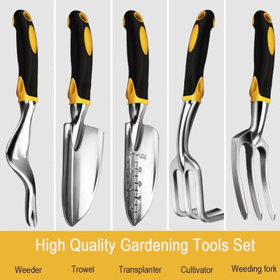 5-Piece High Quality Gardening Tool Set - Aluminum and Silicone Handle