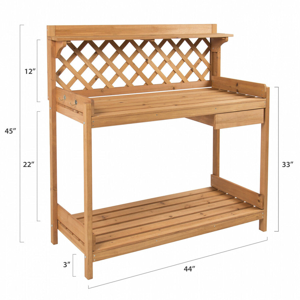 Garden Wooden Potting Bench Workstation with Side Drawer Tool Storage and Hooks