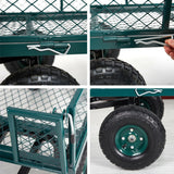 Steel Garden Utility Cart Wagon w/ 550lbs Capacity, Removable Sides, Handle