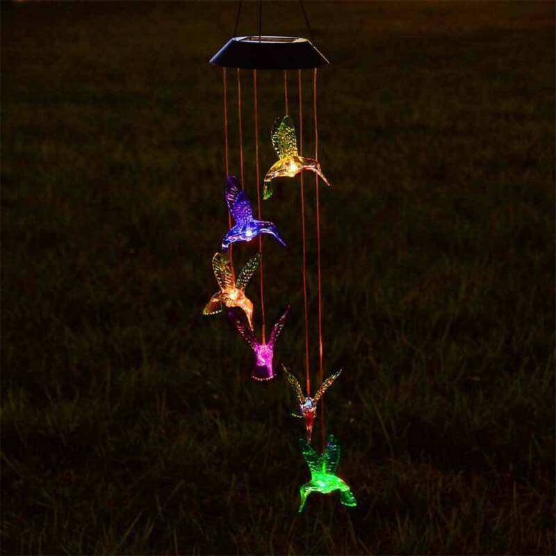 Solar Powered Hummingbird Wind Chime Lights