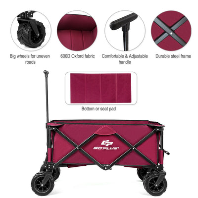 Collapsible Outdoor Utility Garden Trolley Folding Wagon
