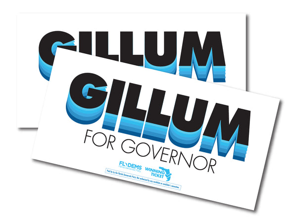 Gillum For Governor Bumper Sticker - Modern