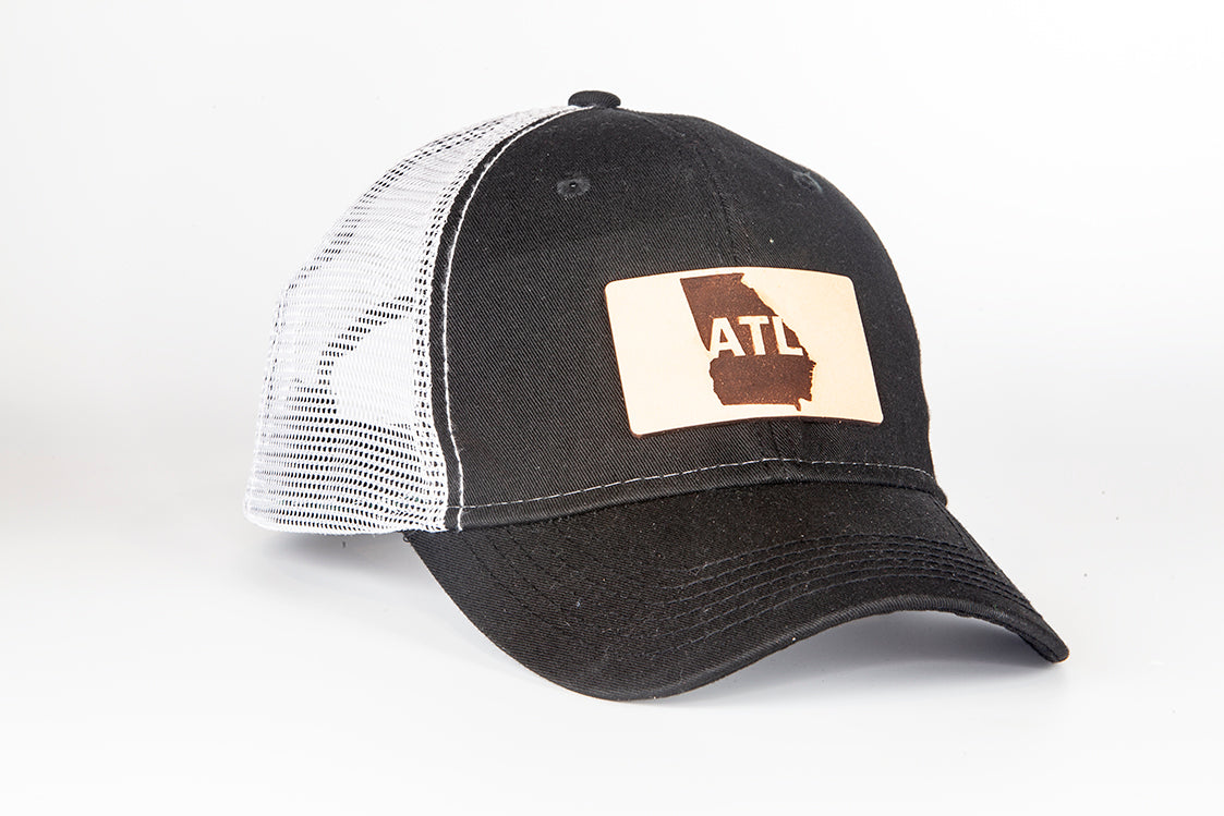 7a2ad32984c ATL leather patch trucker hat. ATL Atlanta Trucker Hat. ATL Atlanta Trucker  Hat