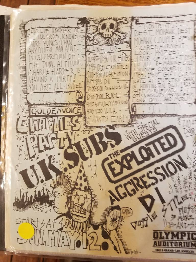 $10 PUNK FLYER - U.K. SUBS EXPLOITED AGGRESSION DI