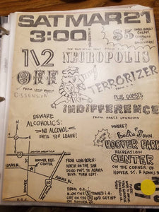 $10 PUNK FLYER - NECROPOLIS TERRORIZER INDIFFERENCE