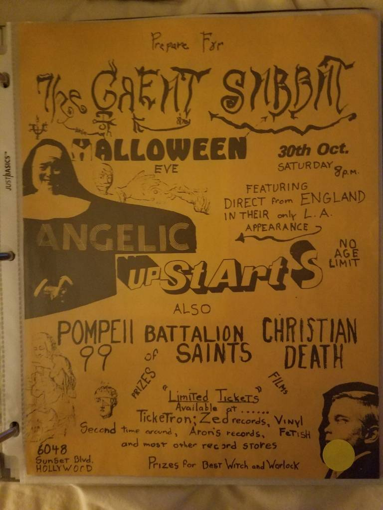 $15 PUNK FLYER ANGELIC UPSTARTS POMPEII 99 BATTALION OF SAINTS CHRISTIAN DEATH