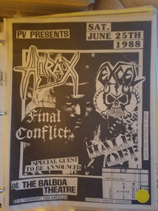 $15 PUNK FLYER HIRAX FINAL CONFLICT EXCEL HALF OFF