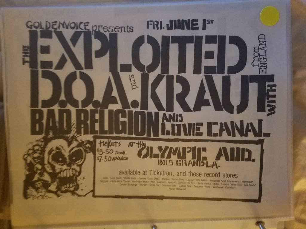 $15 PUNK FLYER EXPLOITED D.O.A. KRAUT BAD RELIGION