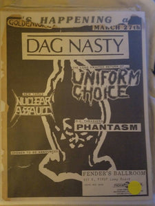 $5 PUNK FLYER - DAG NASTY UNIFORM CHOICE NUCLEAR ASSAULT PHANTASM