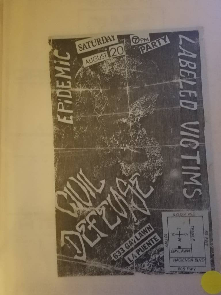$5 PUNK FLYER - CIVIL DEFENSE LABELED VICTIMS