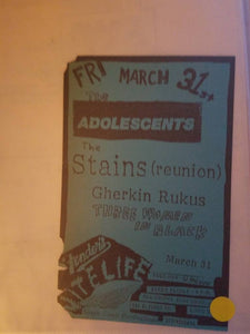 $5 PUNK FLYER - ADOLESCENTS STAINS GHERKIN RUKUS