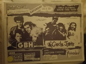 $20 PUNK FLYER - GBH CIRCLE JERKS ACCUSED
