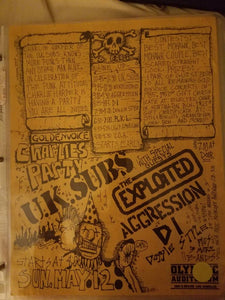 $20 PUNK FLYER - UK SUBS EXPLOITED AGRESSION DI