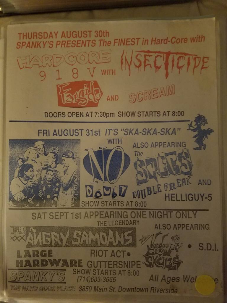 $20 PUNK FLYER - NO DOUBT ANGRY SAMOANS SPECS