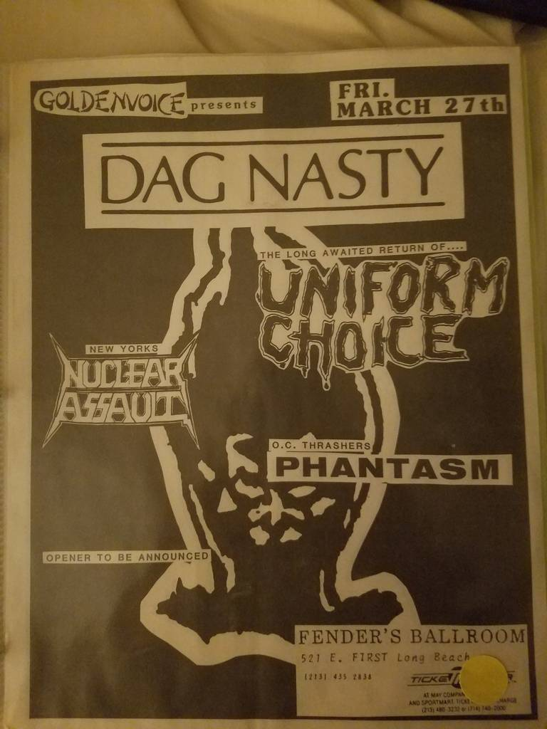 $20 PUNK FLYER - DAG NASTY UNIFORM CHOICE NUCLEAR ASSAULT
