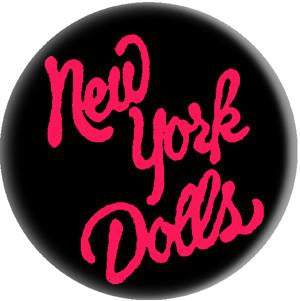 NY DOLLS LOGO button