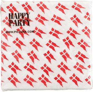 Happy Party Napkins Danish Flag - NordicExpatShop