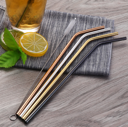 Reusable Stainless Steel Straws With FREE Cleaning Brush (4pcs)