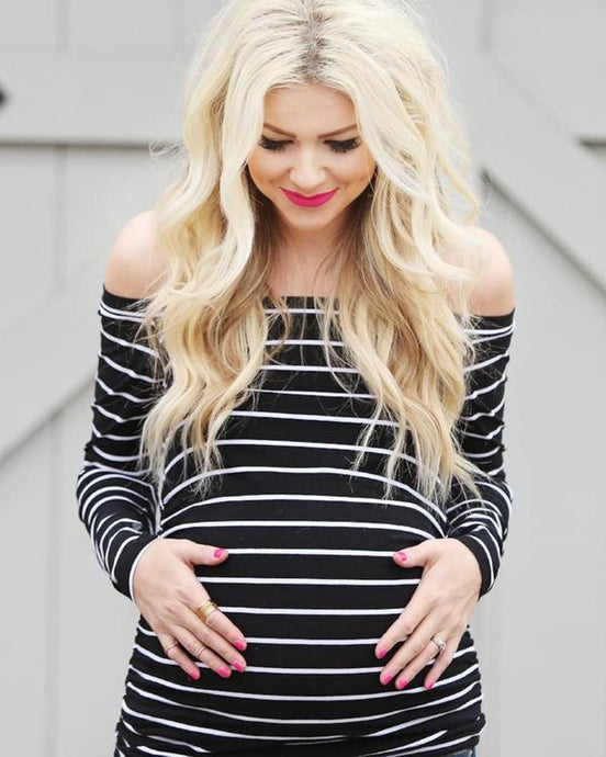 Long Sleeve Striped Maternity Bardot Top - Lilac + Mae