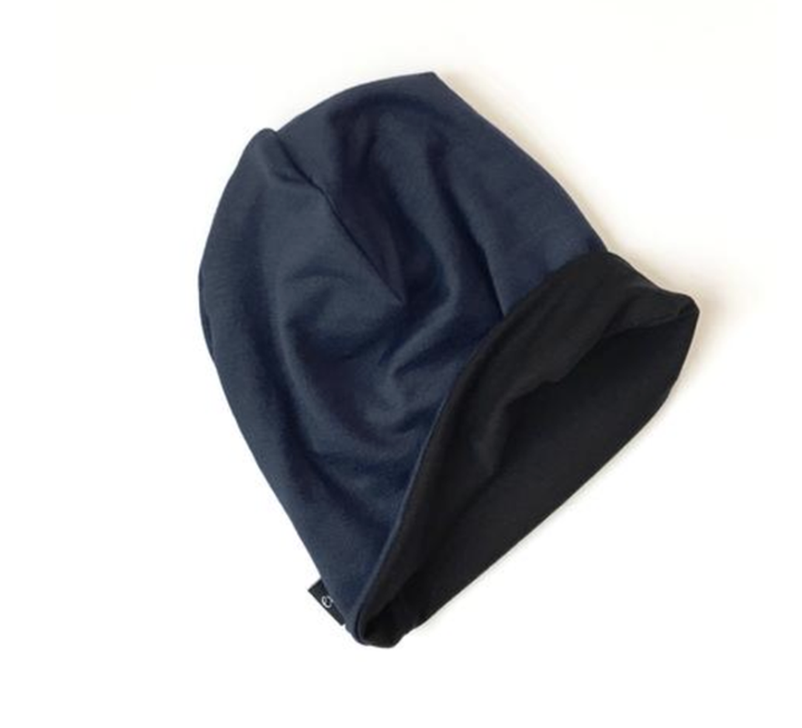 Slouchy Beanie - Solid Navy & Solid Black - Lilac + Mae