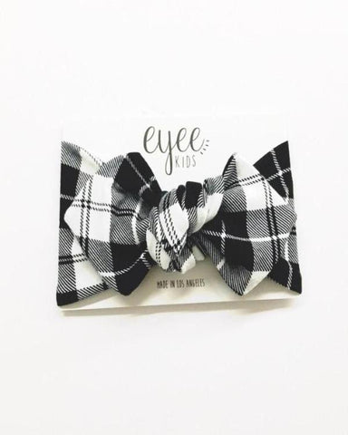 B & W Plaid Knot Headband - Lilac + Mae