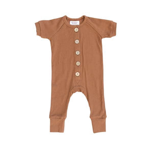 Honey Ribbed Short Sleeve Cotton Button Romper