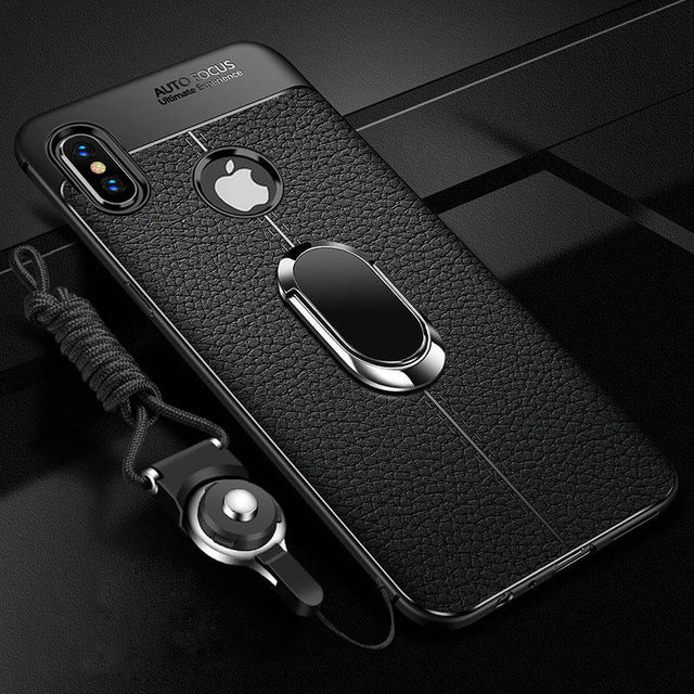 online store 86d4b 376eb Magnetic Leather Soft Car Holder Case for iPhone XS / XS MAX