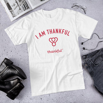 """I am Thankful"" Emblem Short Sleeve Men's Jersey T-Shirt"